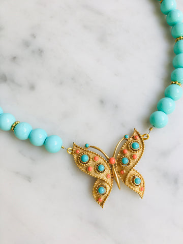 Butterfly in Coral and Turquoise