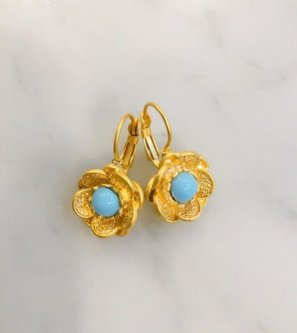 Greek Flowers, Turquoise