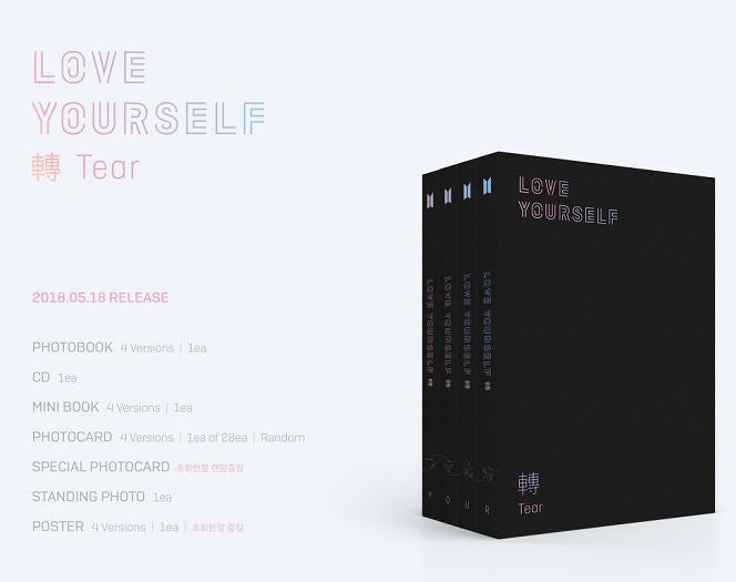 BTS - LOVE YOURSELF 'Tear' (Y + O + U + R) (4 CD) (Korea Version) - Neo Film Shop