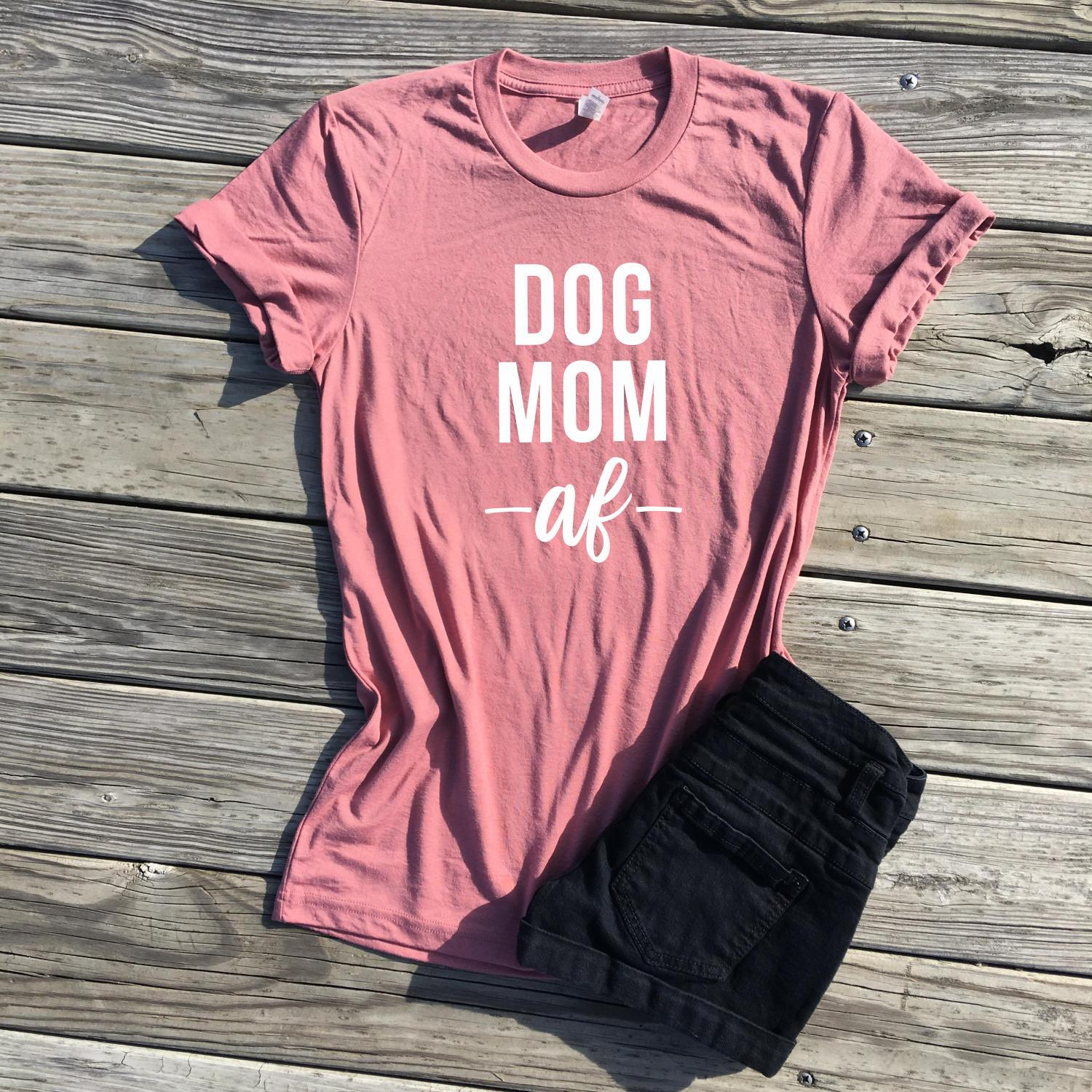 5a402268 dog mom shirt, dog mom af shirt, mauve unisex tee, my kids have four ...