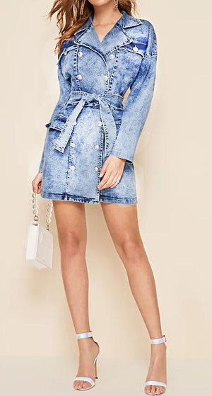 DENIM BUTTON DESIGN SLEEVE DRESS