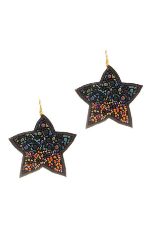 Seed Beaded Star Hook Earring