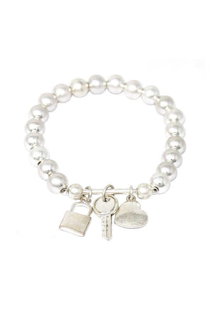 Multi Style Bead Locker And Key Charm Stretch Bracelet