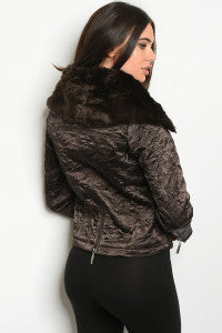 Brown Jacket with Fur Collar
