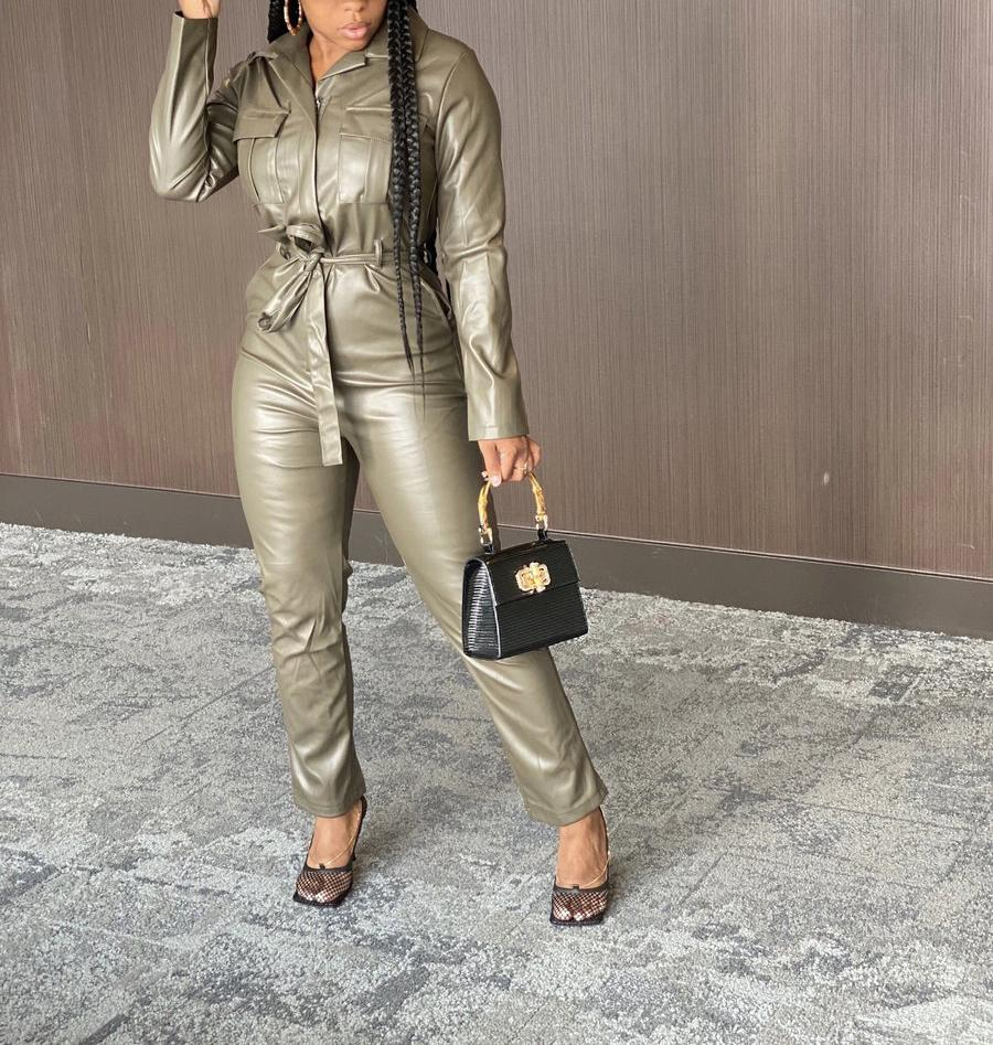 PU Leather Zip Up Jumpsuit
