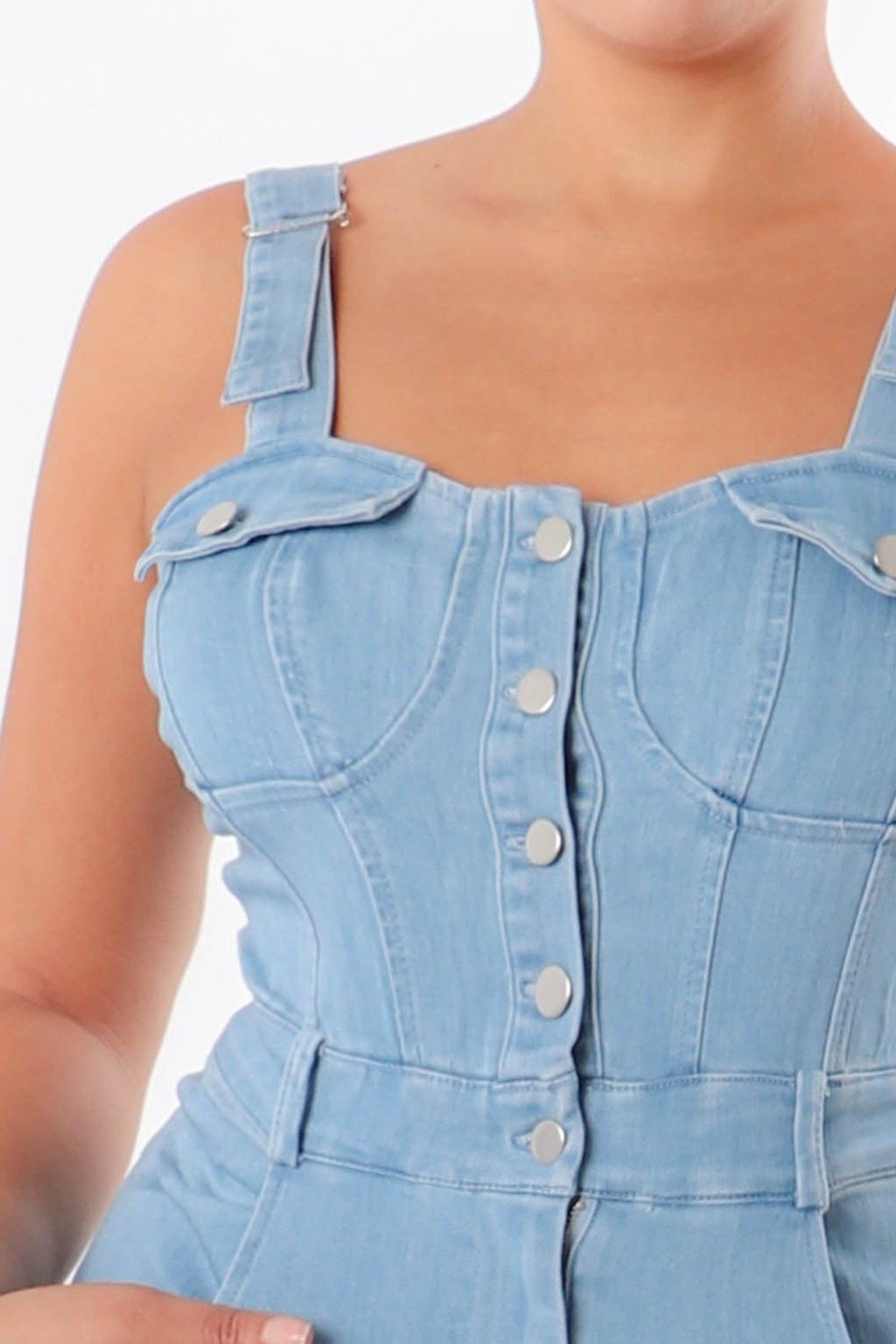 Jean Button Up Dress with Pockets