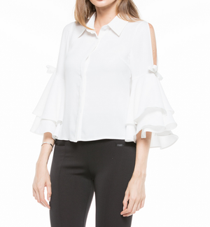 Sleeveless Shoulder Line Shirt Blouse