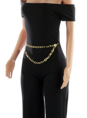 Off Shoulder Chain and Belt Jumpsuit