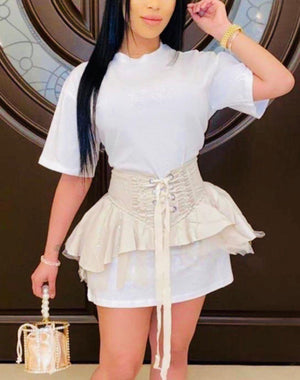 Solid T Shirt Dress w/Skirt Corset