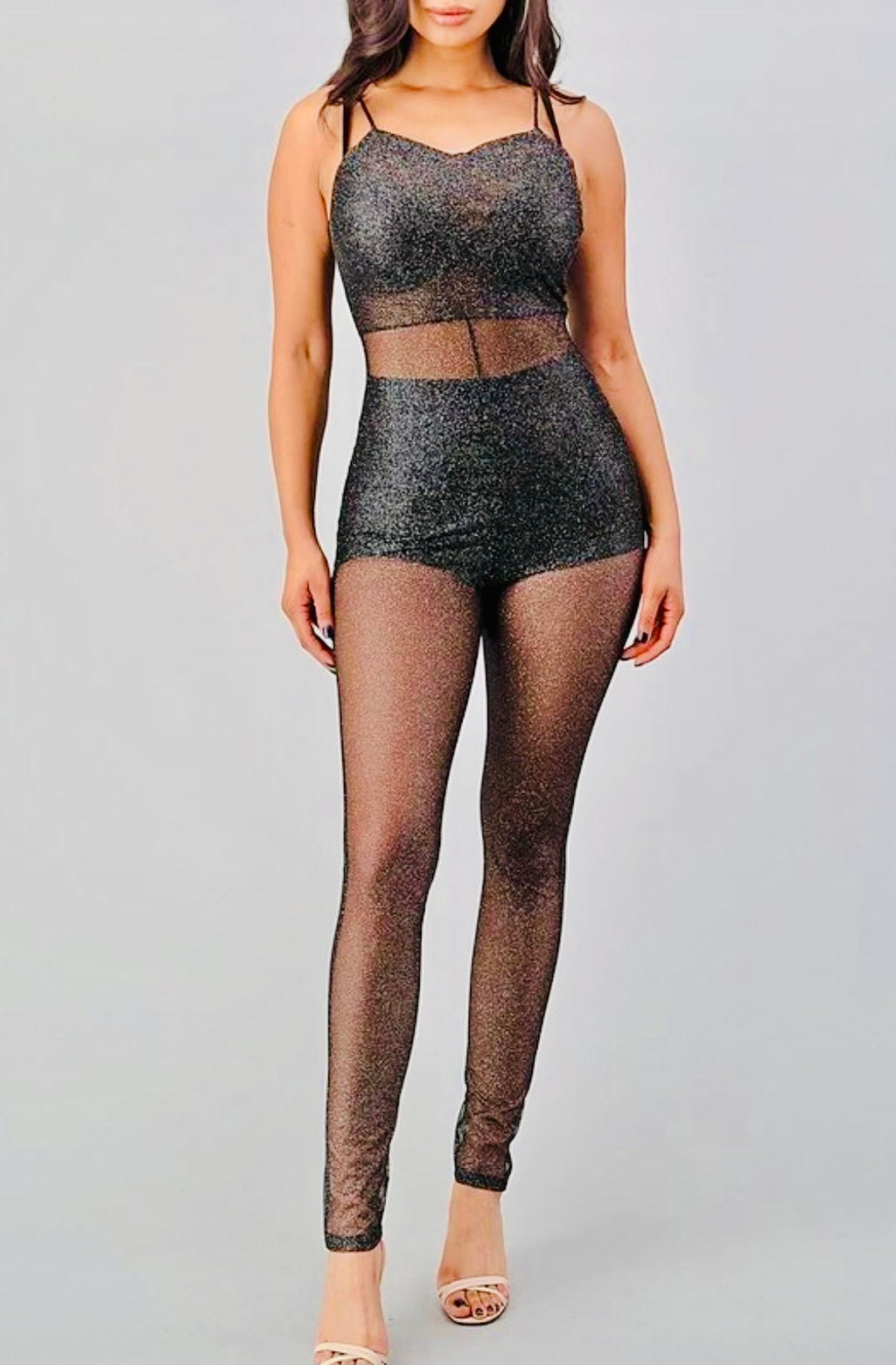 Glitter Mesh Jumpsuit (Shorts & Top Not Included)