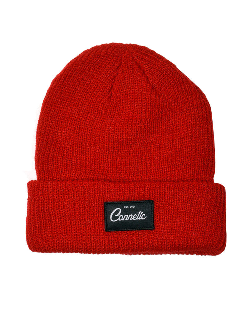 Connetic-Beanie-Classic-Script-Red