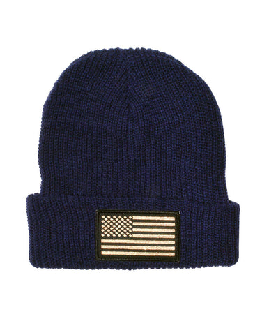 Connetic-Beanie-OldGlory-Navy-Gold-Patch