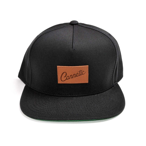 Leather Script 5 Panel Snapback