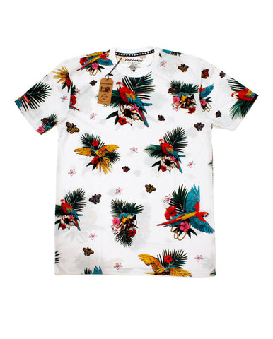 Connetic-Spring15-All-Over-Parrot-Tee-White