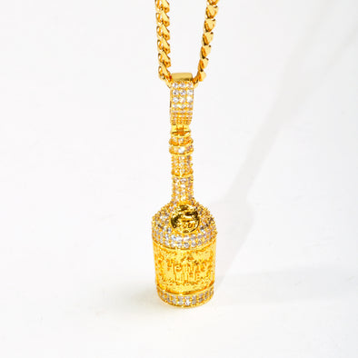 Henny Bottle Pendant with Mini Cuban Chain