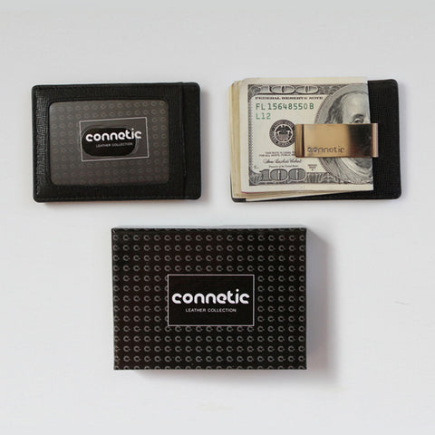 Premium Leather Black Money Clip