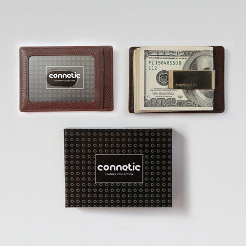 Premium Brown Leather Money Clip