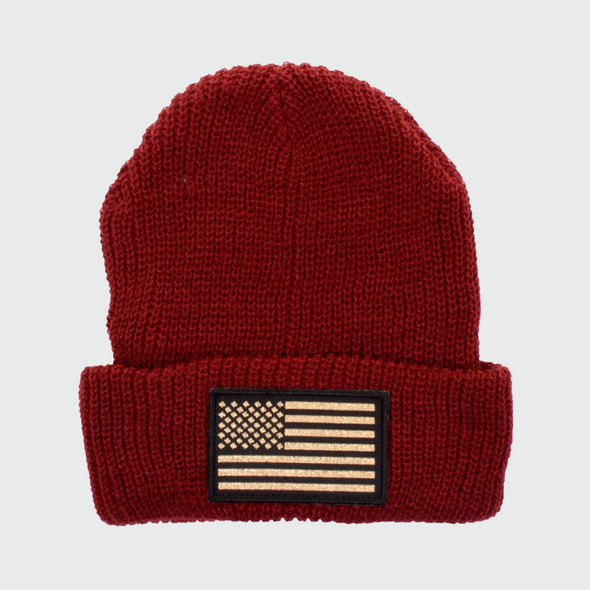 connetic-beanie-old-glory-gold-maroon