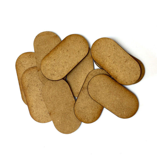 Pill shaped MDF Bases (12 Pack)