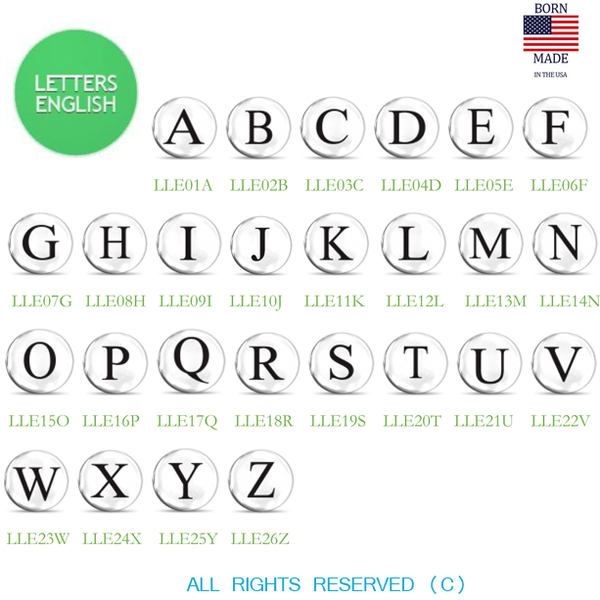 Lucky Snaps Charms: LETTERS ENGLISH