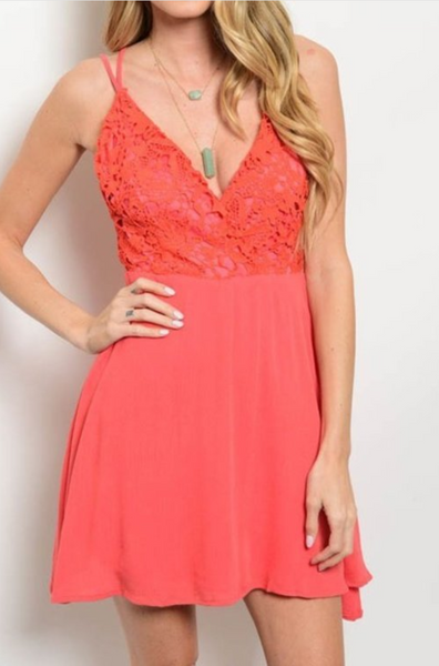 Crochet Accent Double Thin Strap Dress