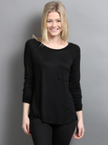 Long Sleeve Pocket Top (Multiple Colors)