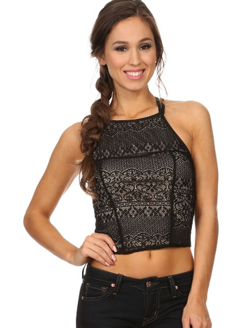 Double Spaghetti Strap, Lace Overlay Crop Top