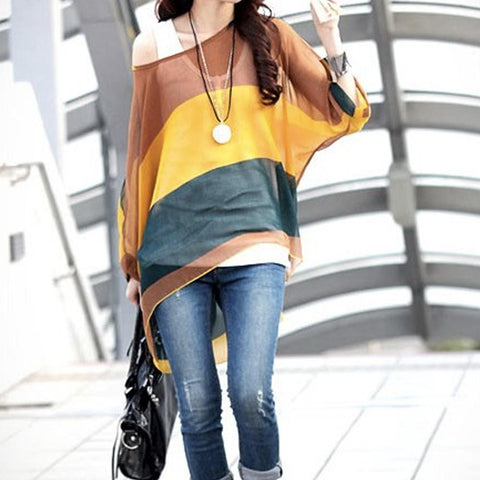Loose Fit Wide Stripe Chiffon Top