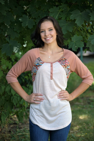 Playful Southwestern Baseball Tee w/ Aztec Tribal Print Detail Top