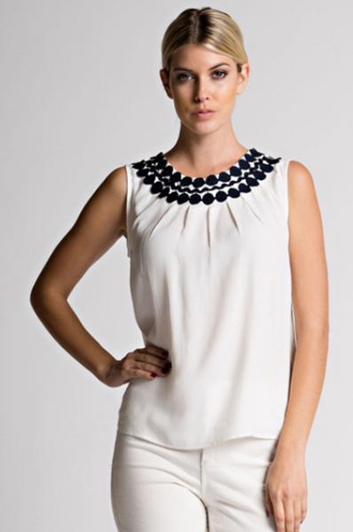 Crochet Detailed Boat Neck Sleeveless Top