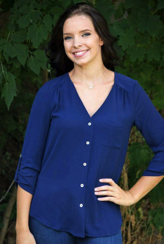 Navy V-Neck Button Down Top