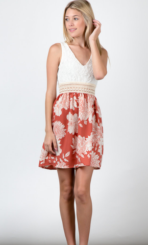 Lace Bodice With Floral Print Dress