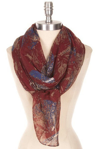 Wine Two-Tones Leaf Scarf