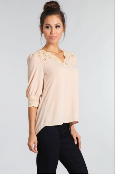 V-neck Top With Embroidered Crochet