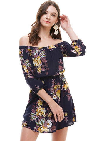 Floral Off Shoulder A Line Dress