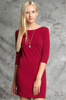 Textured Knit Bodycon Dress With 3/4 Sleeves
