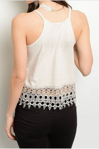 Solid Crochet Cut Out Hem Thin Strap Top