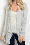 Grey Long Sleeve Draped Cardigan