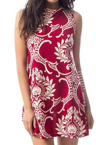 "Printed Dark Red ""Jade"" Dress"