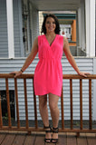Sleeveless Hot Pink V-Neck Dress
