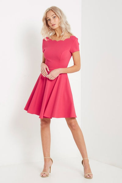 Pink Scalloped Fit And Flare Dress