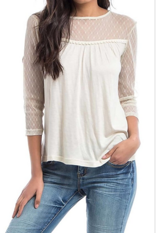 Mesh Shoulder 3/4 Sleeve Top