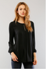 Long Sleeve Front Pleat Detail Top