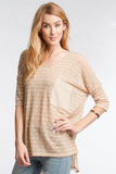 Half Sleeve Striped V-Neck Top With Contrast Pocket