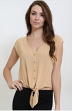 Tan Button Down Front Tie Blouse