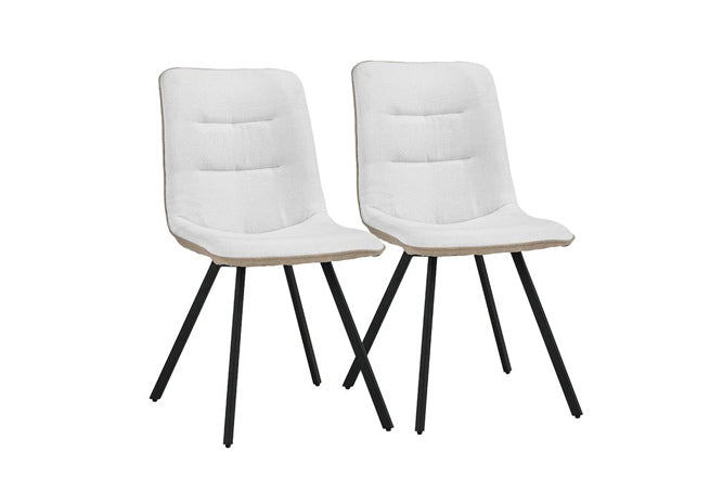 Set of 2 Modern Linen Kitchen Dining Chairs in Beige and White