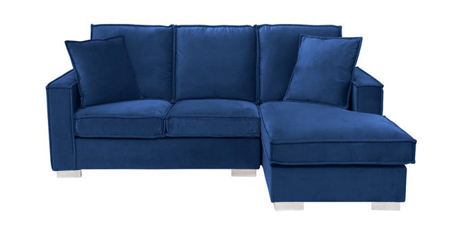 Velvet Sectional in Navy