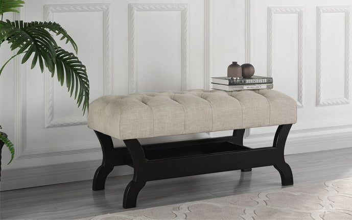 Tufted Linen Bench with Storage in Beige
