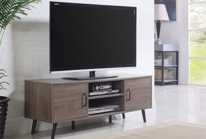 Modern TV Stand Credenza with 2 Side Cabinets in Ash