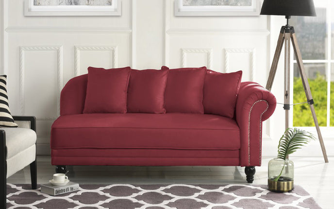 Velvet Accent Chaise Lounge in Rose Red